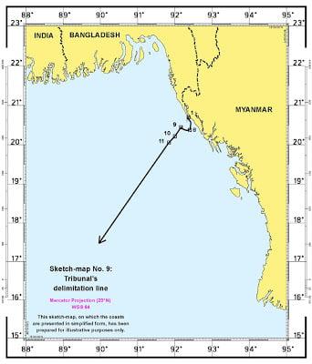 ΔΔΔΘ: Απόφαση διαιτησίας για τον καθορισμό της γραμμής θαλάσσιων συνόρων μεταξύ του Μπανγκλαντές και της Μιανμάρ (Βιρμανίας)