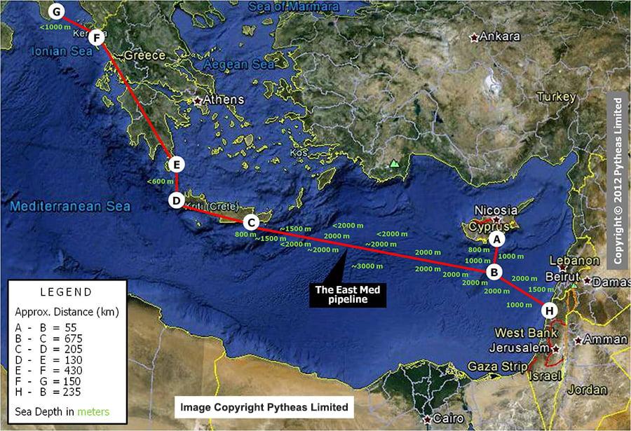 8 Δεκεμβρίου Κύπρος-Ελλάδα-Ισραήλ παρουσιάζουν τον αγωγό East Med στην Ε.Ε. στις Βρυξέλλες