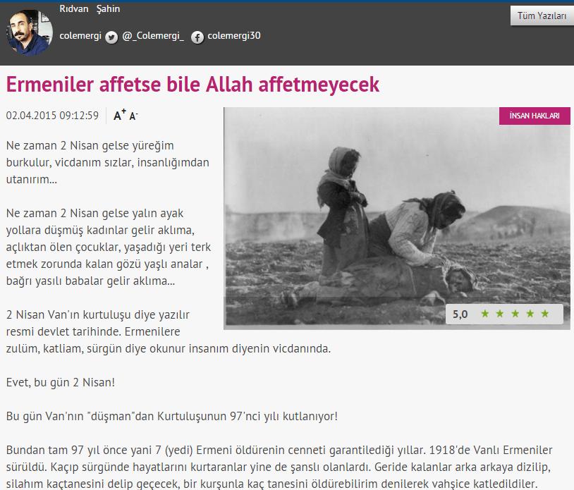 """""""Ακόμα και αν μας συγχωρέσουν οι Αρμένιοι, δεν θα μας συγχωρήσει ο Θεός"""""""