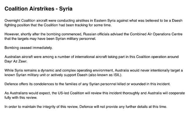 Συρία: και η μακρινή Αυστραλία βομβαρδίζει το στρατό του καθεστώτος Άσσαντ