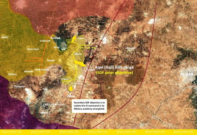 Η κούρσα Κούρδοι/SDF (18,3 χλμ.) vs Τούρκοι/SFA (12,8 χλμ.)  προς την Αλ Μπάμπ