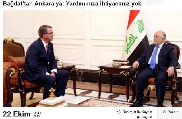 Βαγδάτη: Δεν χρειαζόμαστε τη βοήθεια της Τουρκίας