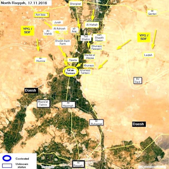 Οι κουρδικές δυνάμεις κατέλαβαν τη Tal as-Saman από το Νταές στα Βόρεια της Ράκκας.
