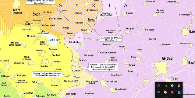 Μάχη της Αλ-Μπαμπ: οι θέσεις στη κούρσα προς την Αλ-Μπαμπ, SDF vs FSA/ΤΕΔ 4.11.2016