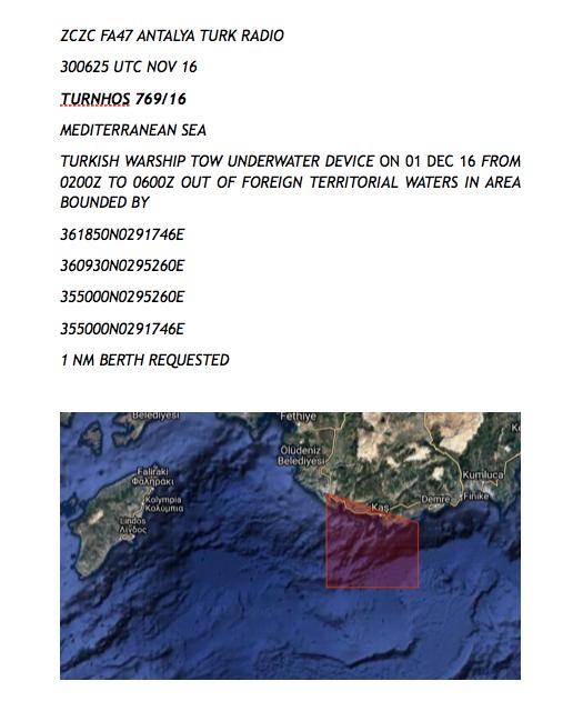 """NAVTEX πρόκληση των Τούρκων που """"σβήνει"""" το Καστελόριζο από το χάρτη"""