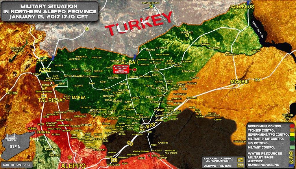 13.1.2017, Απέτυχε η προσπάθεια της Τουρκίας να πλαισιώσει την αλ Μπαμπ από την ανατολική πλευρά