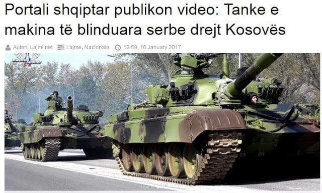 «Σερβικά άρματα μάχης και τεθωρακισμένα κατευθύνονται στα σύνορα με Κοσσυφοπέδιο»