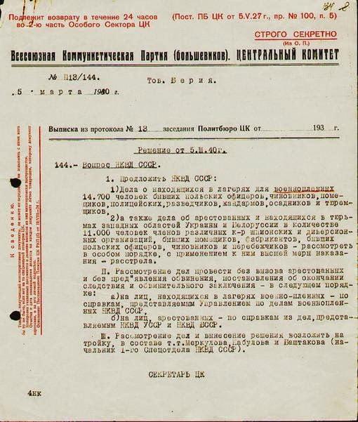 Ο Λαβρέντι Μπέρια, το Κατίν, η NKVD και η διαδικασία