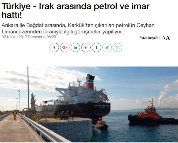 Τουρκία και Ιράκ συζητούν για μεταφορά πετρελαίου από το Κιρκούκ