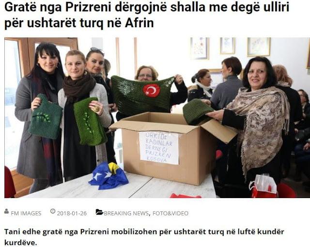 Γυναίκες του Κοσόβου πλέκουν 'Κλάδο Ελαίας' για τους Τούρκους στρατιώτες στο Αφρίν