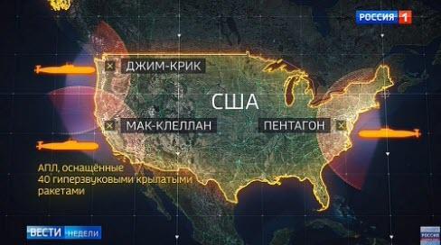 Η Ρωσική Τηλεόραση Παρουσιάζει τους Πυραύλους Και τους Στόχους στις ΗΠΑ.