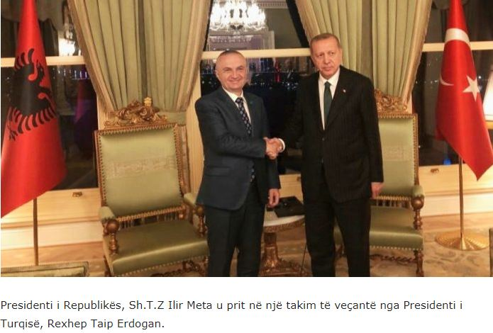 Ο πρόεδρος της Αλβανίας σε 'ειδική σύσκεψη' με τον Τούρκο πρόεδρο