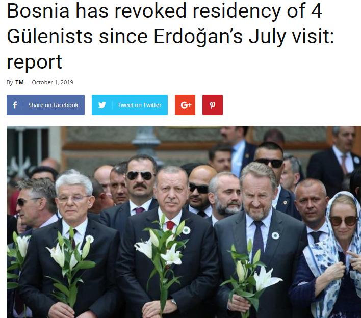 Η Βοσνία ανακαλεί τις άδειες παραμονής 4 γκιουλενιστών