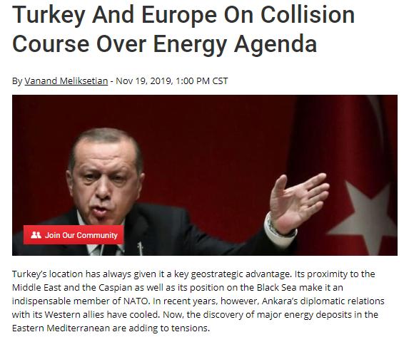 OilPrice: Σύγκρουση Τουρκίας – Ευρώπης με φόντο την ενέργεια