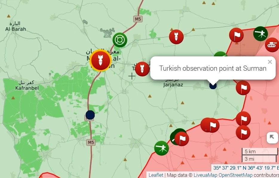 Ο συριακός στρατός προελαύνει στα νότια της Ιντλίμπ, απελευθερώνει δεκάδες χωριά και περικυκλώνει το τούρκικο παρατηρητήριο Νο 6 στο Surman.