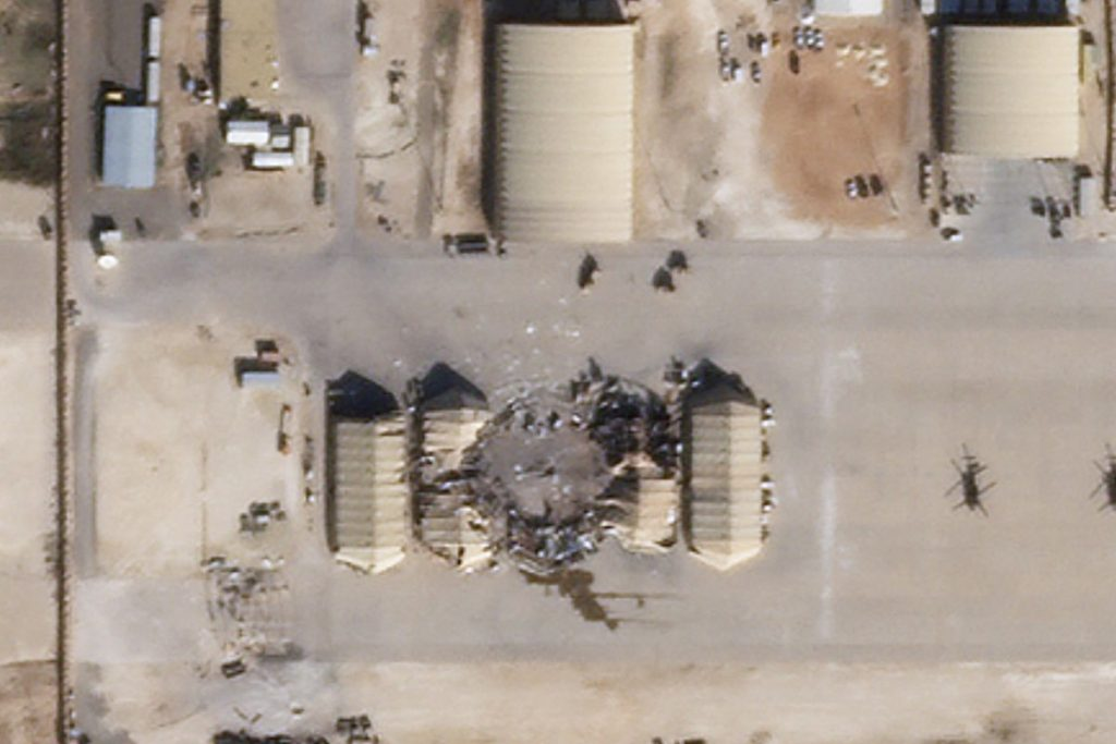 A satellite image reportedly shows damage to the Al-Asad airbase in Iraq after it was hit by missiles from Iran. Image: Planet Labs via AFP
