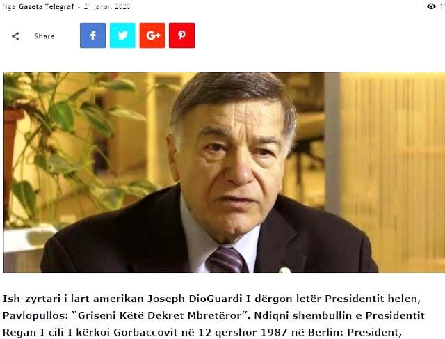 Άρση του εμπολέμου μεταξύ Ελλάδας- Αλβανίας ζητά πρώην μέλος του Κογκρέσου