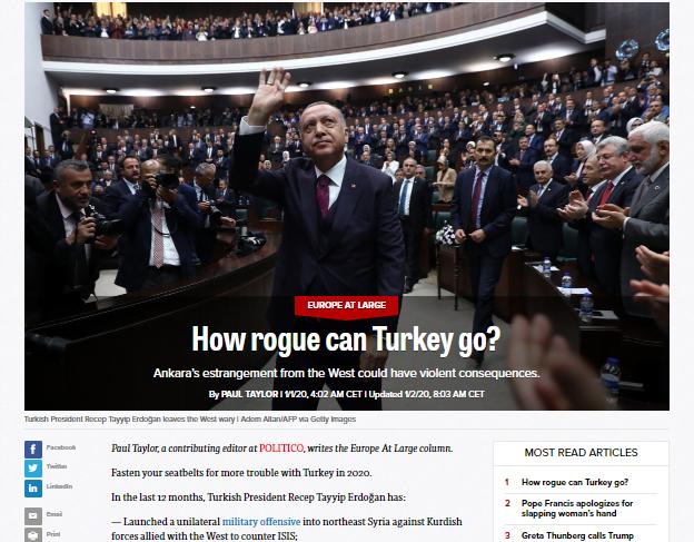 Politico: Η αποξένωση της Τουρκίας από τη Δύση μπορεί να έχει βίαιες συνέπειες