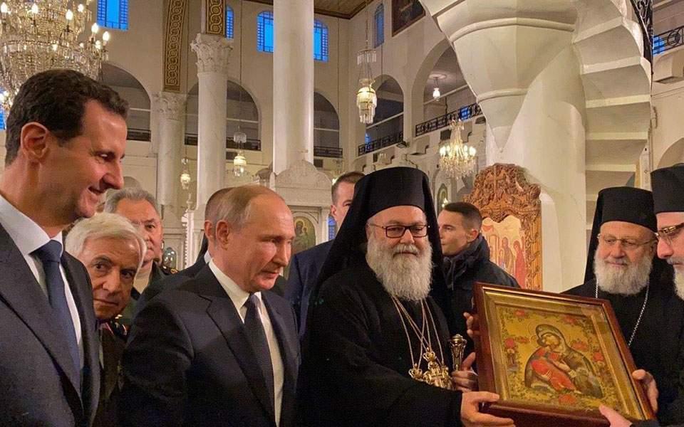 Συρία: Τον ιστορικό ελληνορθόδοξο ναό της Παναγίας στη Δαμασκό επισκέφθηκαν Πούτιν και Ασαντ