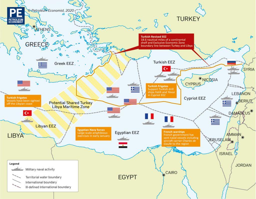 Στο «κόκκινο» η Ανατολική Μεσόγειος – Συνωστισμός πολεμικών πλοίων στην περιοχή [Χάρτης]