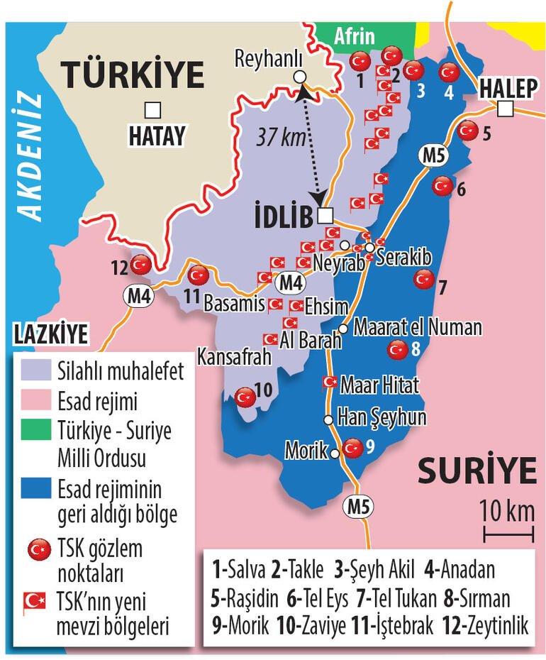 Δείτε ποια είναι τα σχέδια και οι θέσεις του τουρκικού στρατού στο Ιντλίμπ σήμερα (χάρτης)
