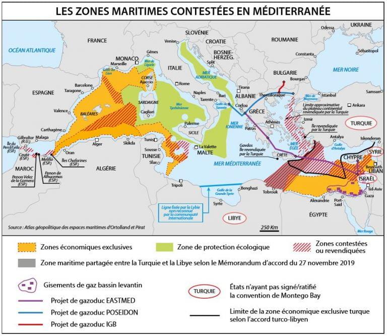 Γαλλικός χάρτης περιλαμβάνει το τουρκολιβυκό Μνημόνιο και «γκριζάρει» το μισό Αιγαίο και ελληνικά νησιά