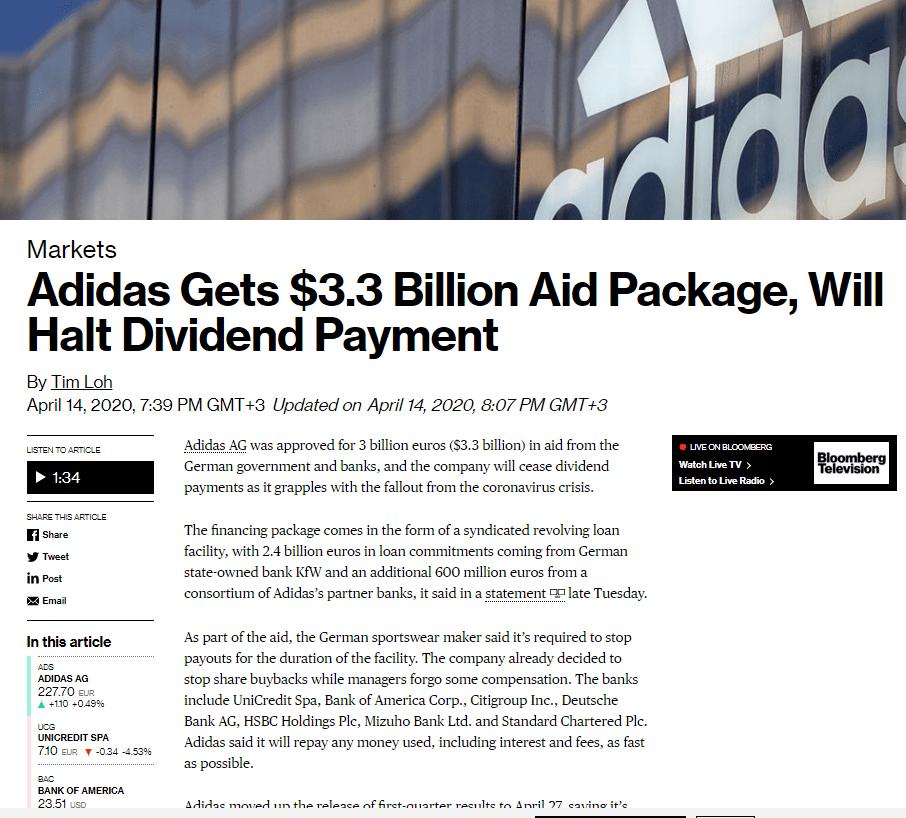Η Adidas παίρνει δάνειο τριών δισεκατομμυρίων ευρώ