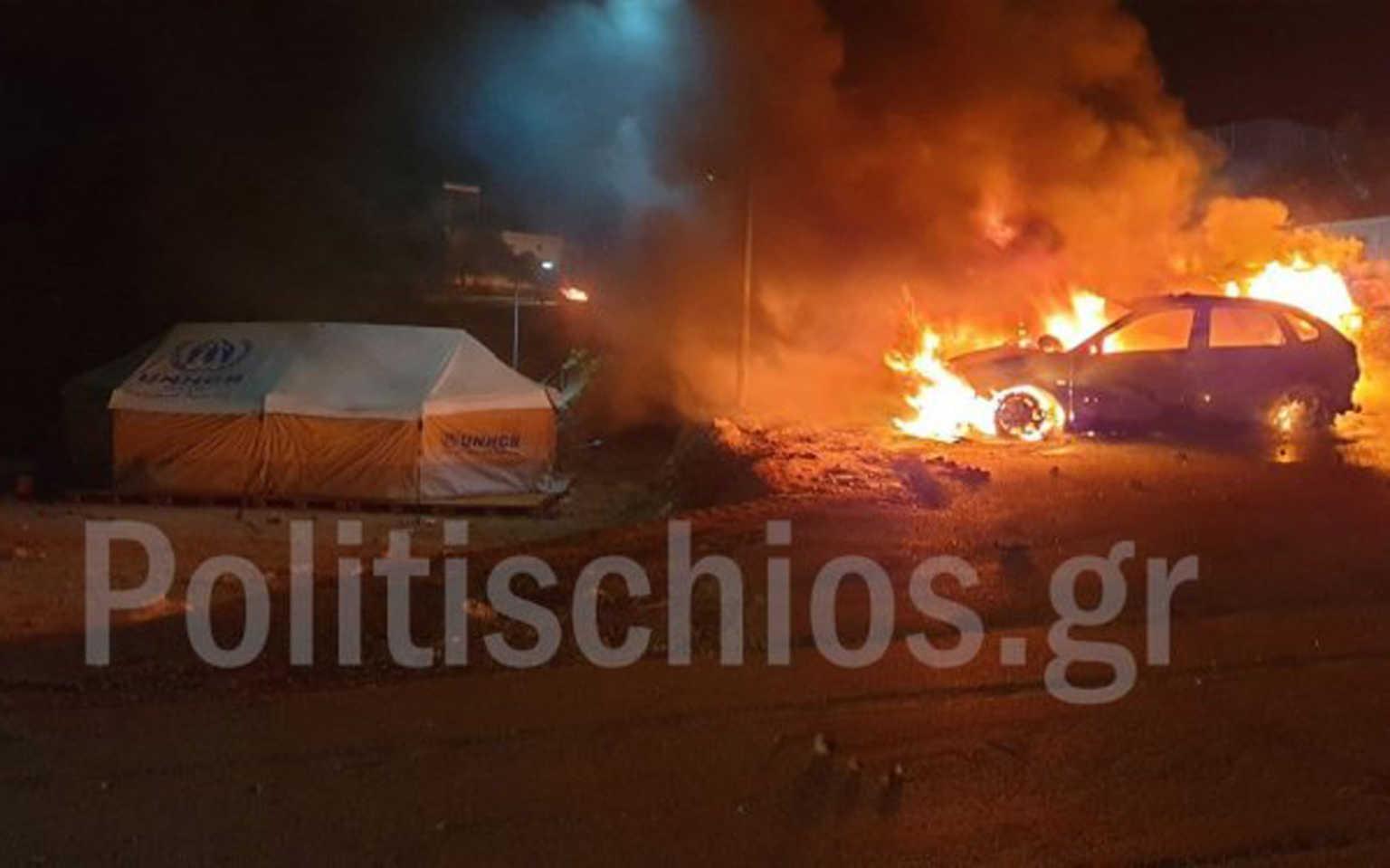 Χίος: Καμένα αυτοκίνητα, σκηνές και οικίσκοι ο απολογισμός των επεισοδίων στη ΒΙ.ΑΛ.