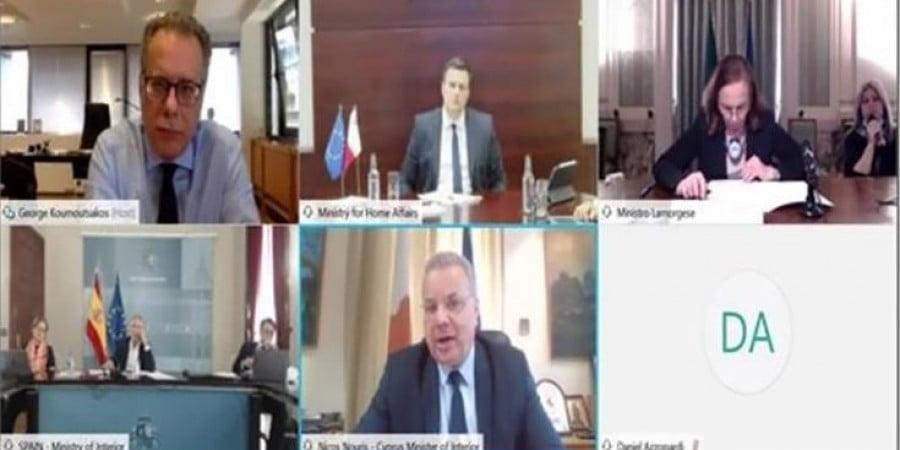 Τηλεδιάσκεψη ΥΠΕΣ Κύπρου, Ελλάδας, Ιταλίας, Ισπανίας και Μάλτας για μεταναστευτικό