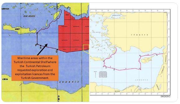 Η Τουρκία υπέβαλε χάρτη με την υφαλοκρηπίδα της με Ρόδο, Κρήτη κι «εξαφανισμένο» Καστελόριζο