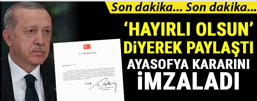 Δείτε τι έγραψε ο Ερντογάν, για την απόφαση που υπέγραψε ο ίδιος για την Αγία Σοφία.