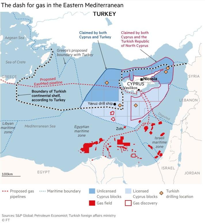 FT : Παιχνίδια εξουσίας της Τουρκίας στη Μεσόγειο