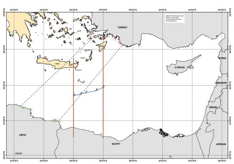 Δείτε τον χάρτη της Συμφωνίας Ελλάδος-Αιγύπτου – Μειωμένη επήρεια σε Κρήτη, εκτός η μισή Ρόδος