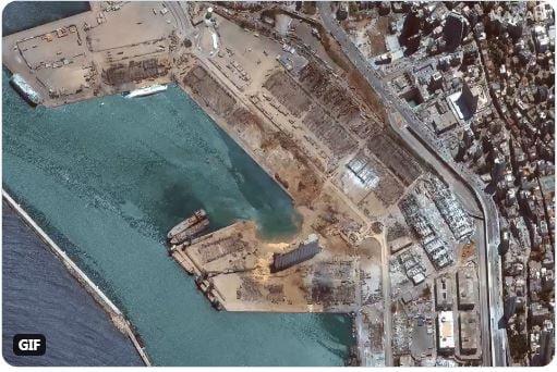 Δείτε το λιμάνι της Βηρυτού πριν και μετά τη μεγάλη έκρηξη