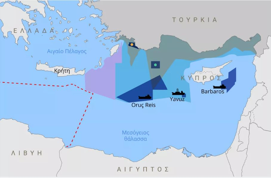 Αυτές ήταν οι τελευταίες ενέργειες της Τουρκίας στην Ανατολική Μεσόγειο (χάρτης)
