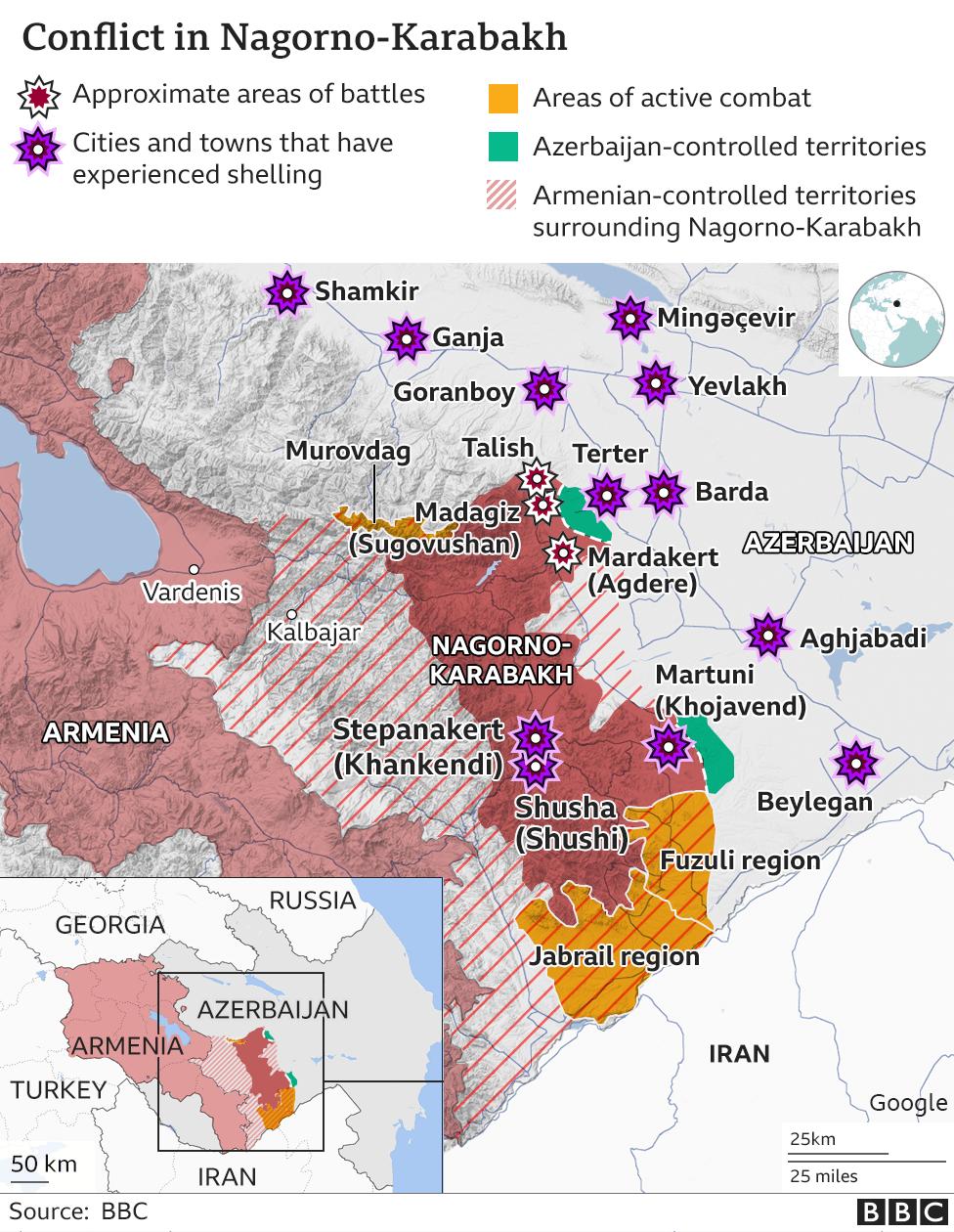 Η πορεία των μαχών στο Ναγκόρνο Καραμπάχ – Χάρτης επιχειρήσεων