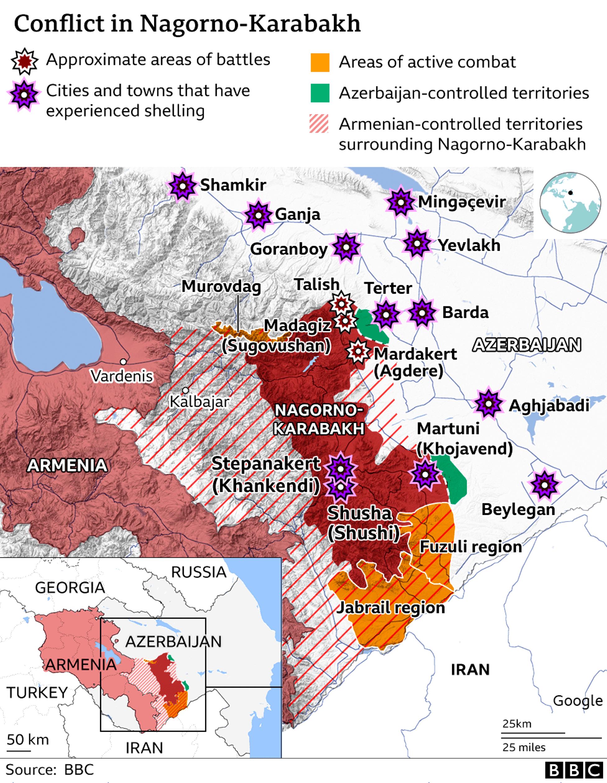 Η πορεία των μαχών στο Ναγκόρνο Καραμπάχ