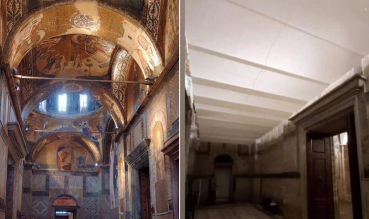 """Βαρβαρότητα Ερντογάν: Με ψευδοροφές κι αστάρι """"εξαφανίζουν"""" τις τοιχογραφίες της Μονής Χώρας (Φωτό: Πριν/Μετά)"""