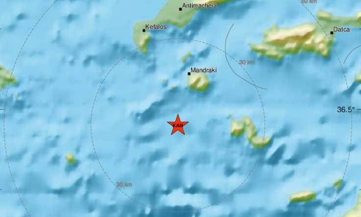 Νέος ισχυρός σεισμός ανάμεσα Κω και Τήλο – 4,9 Ρίχτερ ταρακούνησαν την περιοχή
