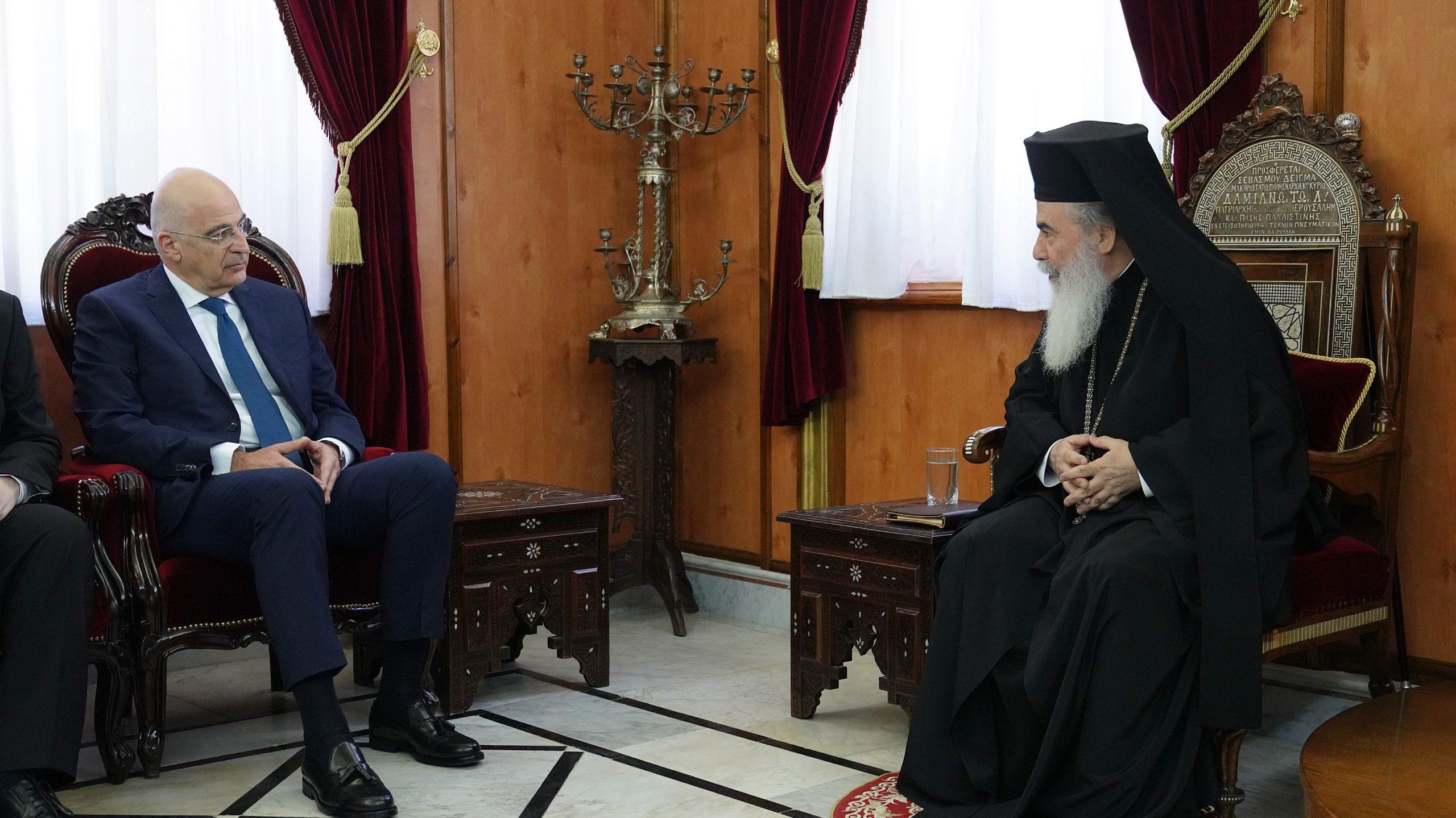 Συνάντηση Δένδια με τον Πατριάρχη Ιεροσολύμων, τον ΥΠΕΞ του Ισραήλ και τον Πρωθυπουργό της Παλαιστινιακής Αρχής