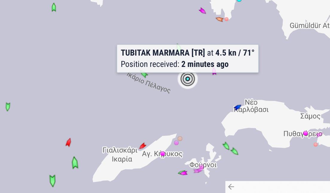 Εξόφθαλμη καταπάτηση! Το Tubitak Marmara πλέει ανενόχλητο στο Ικάριο Πέλαγος