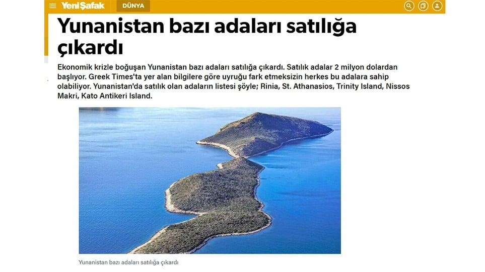 Γενί Σαφάκ: «Η Ελλάδα πουλάει νησιά στο Αιγαίο»