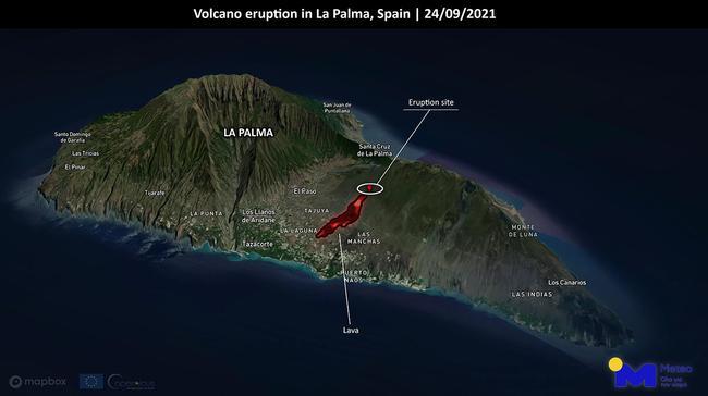 Ισπανία: Δορυφορική απεικόνιση της ροής λάβας στη Λα Πάλμα